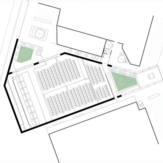 planta ingreso y palco