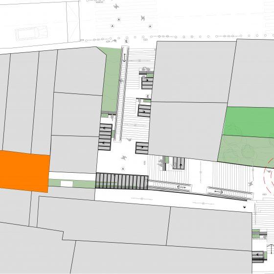 plano, área patios comunitarios 13 de abril