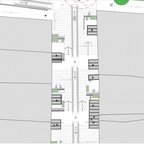 plano, área patios comunitarios