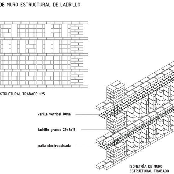 detalle de muro estructural de ladrillo planta extracción de esencias