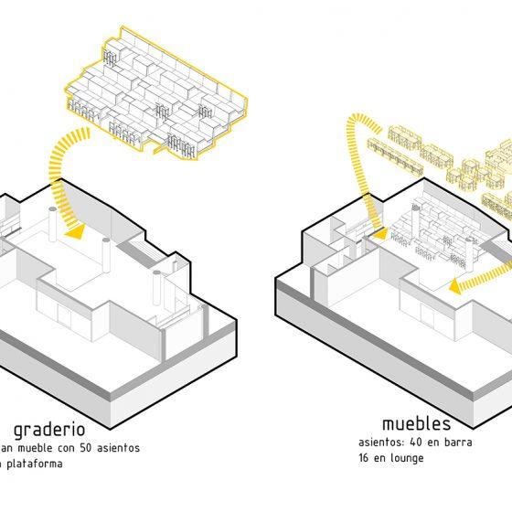 esquema micro graderío, muebles