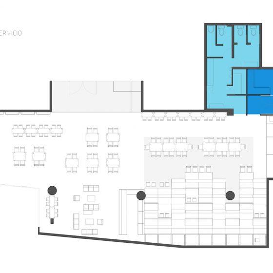planta zonas de servicio deck restaurante