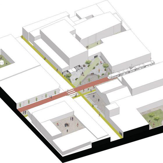 isometría corredor centro histórico